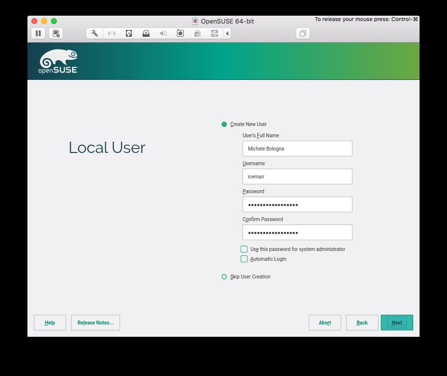 local user creation